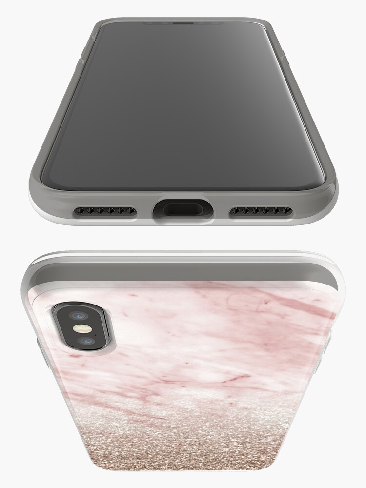 Vista alternativa de Funda y vinilo para iPhone Gradiente de oro rosa champán brillo