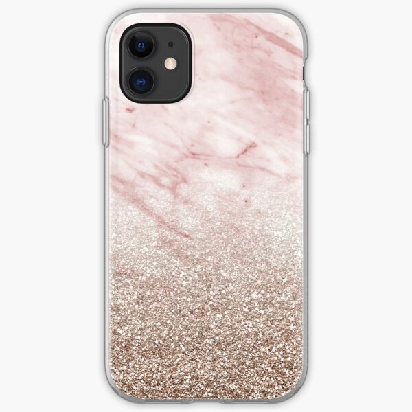 Rose gold champagne glitter gradient iPhone Soft Case