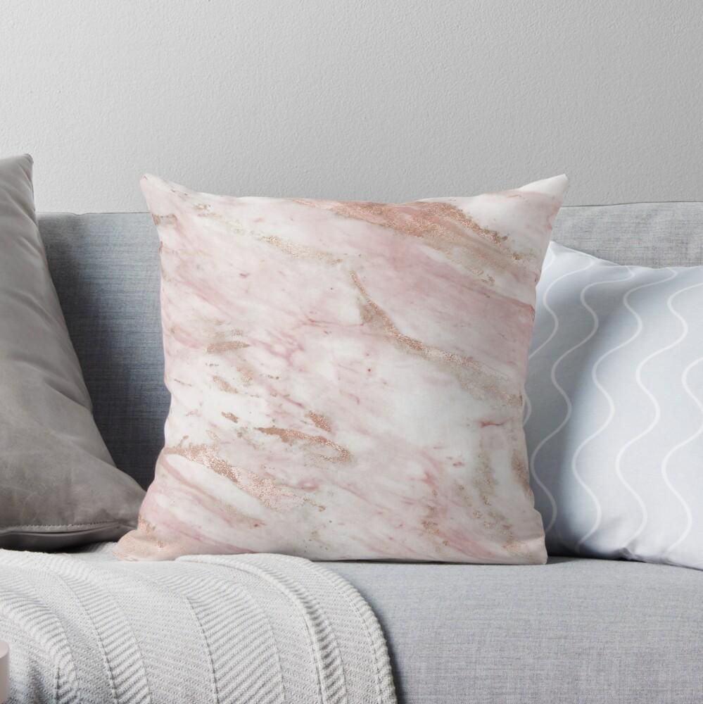 Rosa mármol - detalles en oro rosa Cojín