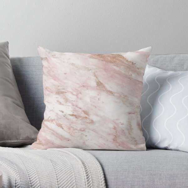 Pink marble - rose gold accents Throw Pillow