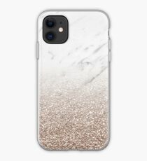 Glitter ombre - white marble & rose gold glitter iPhone Case