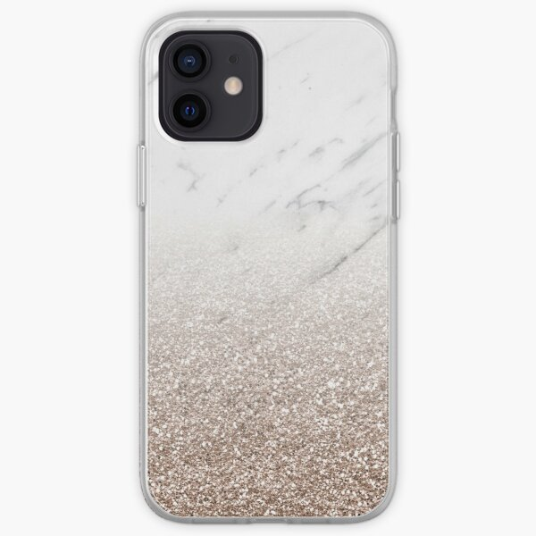 Glitter ombre - white marble & rose gold glitter iPhone Soft Case