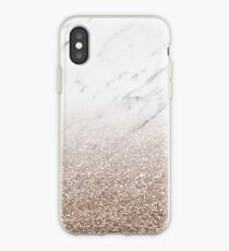 Glitter ombre - weißer Marmor & Roségold Glitter iPhone-Hülle & Cover