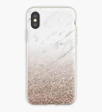 Vinilo o funda para iPhone Glitter ombre - glitter de mármol blanco y oro rosa