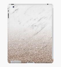 Glitter ombre - white marble & rose gold glitter iPad Case/Skin