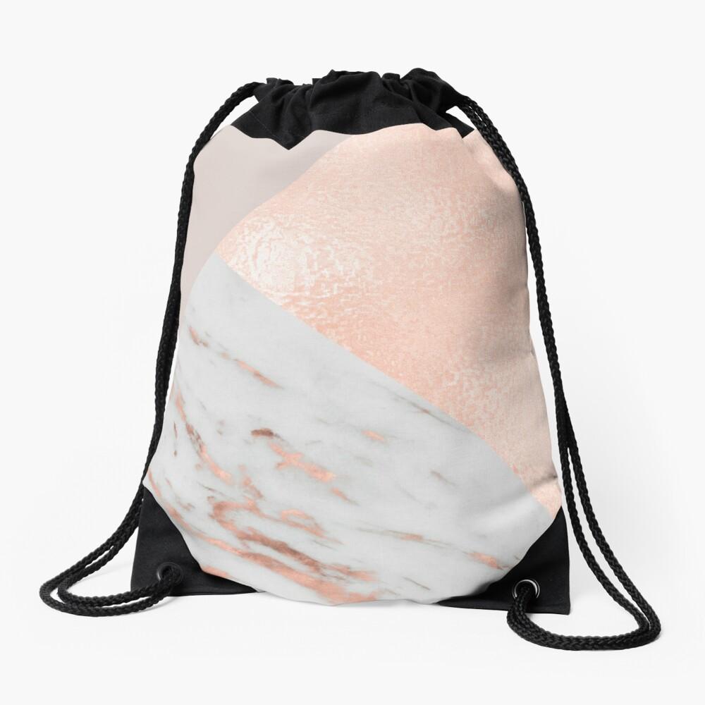 Blush pink layers of rose gold and marble Drawstring Bag