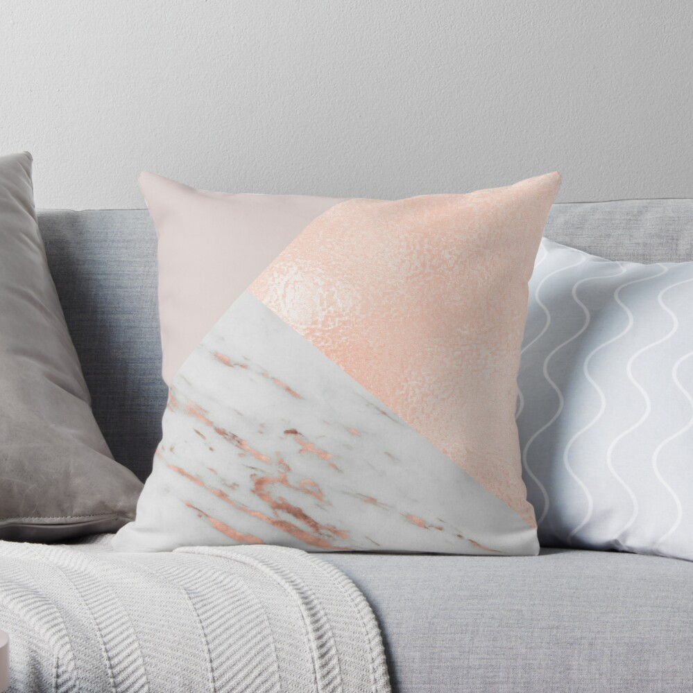 Blush pink layers of rose gold and marble Throw Pillow