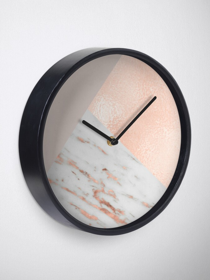 Alternate view of Blush pink layers of rose gold and marble Clock