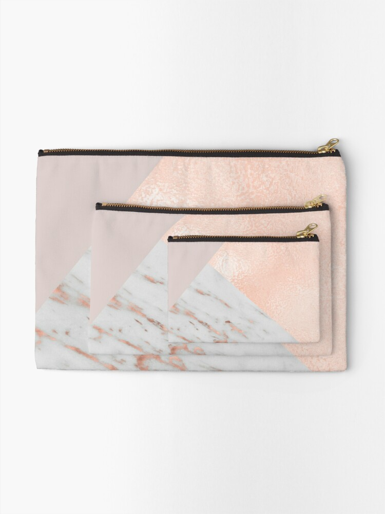 Alternate view of Blush pink layers of rose gold and marble Zipper Pouch