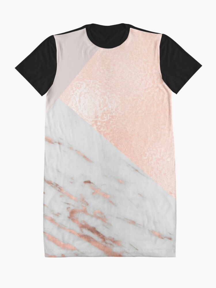 Alternate view of Blush pink layers of rose gold and marble Graphic T-Shirt Dress