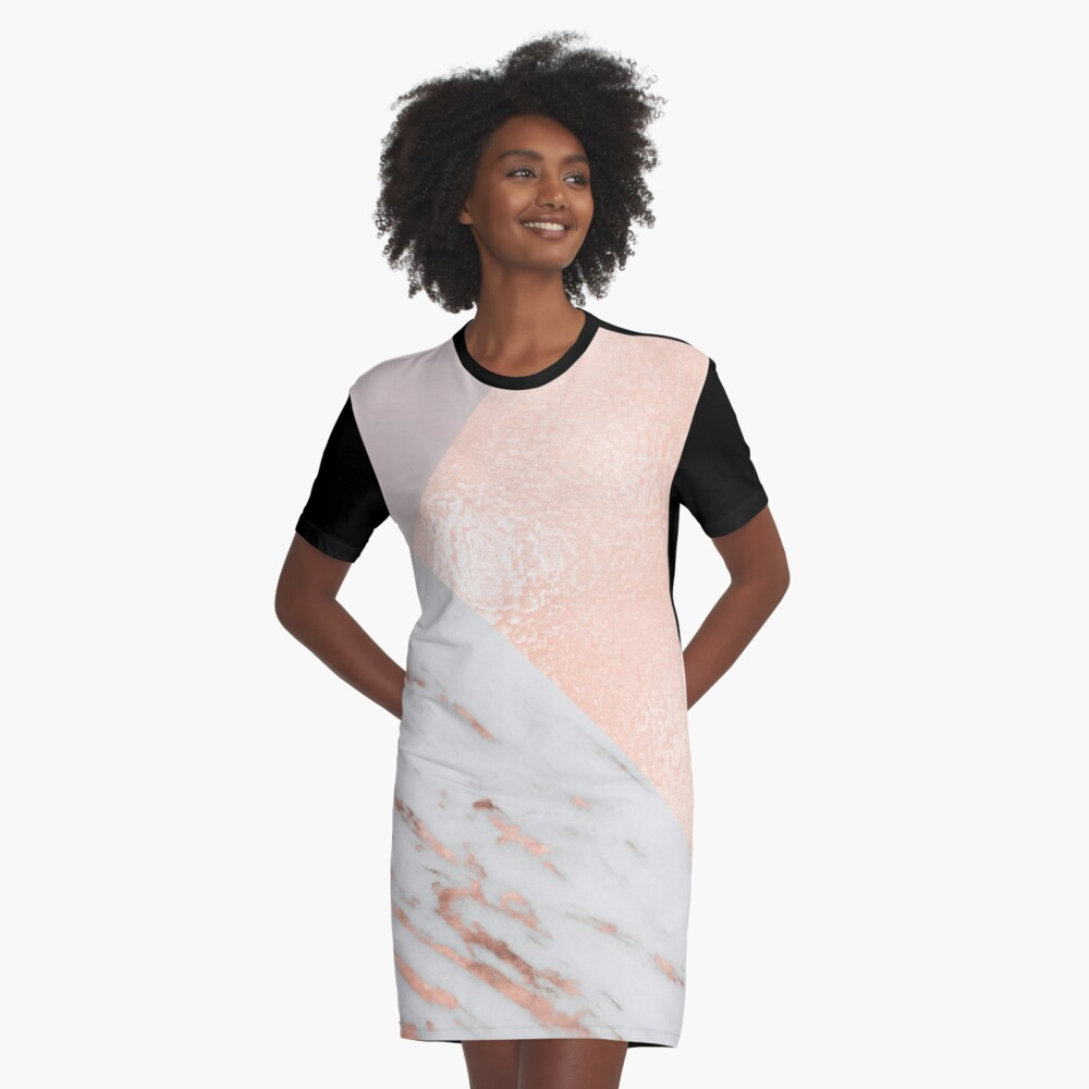 Blush pink layers of rose gold and marble Graphic T-Shirt Dress