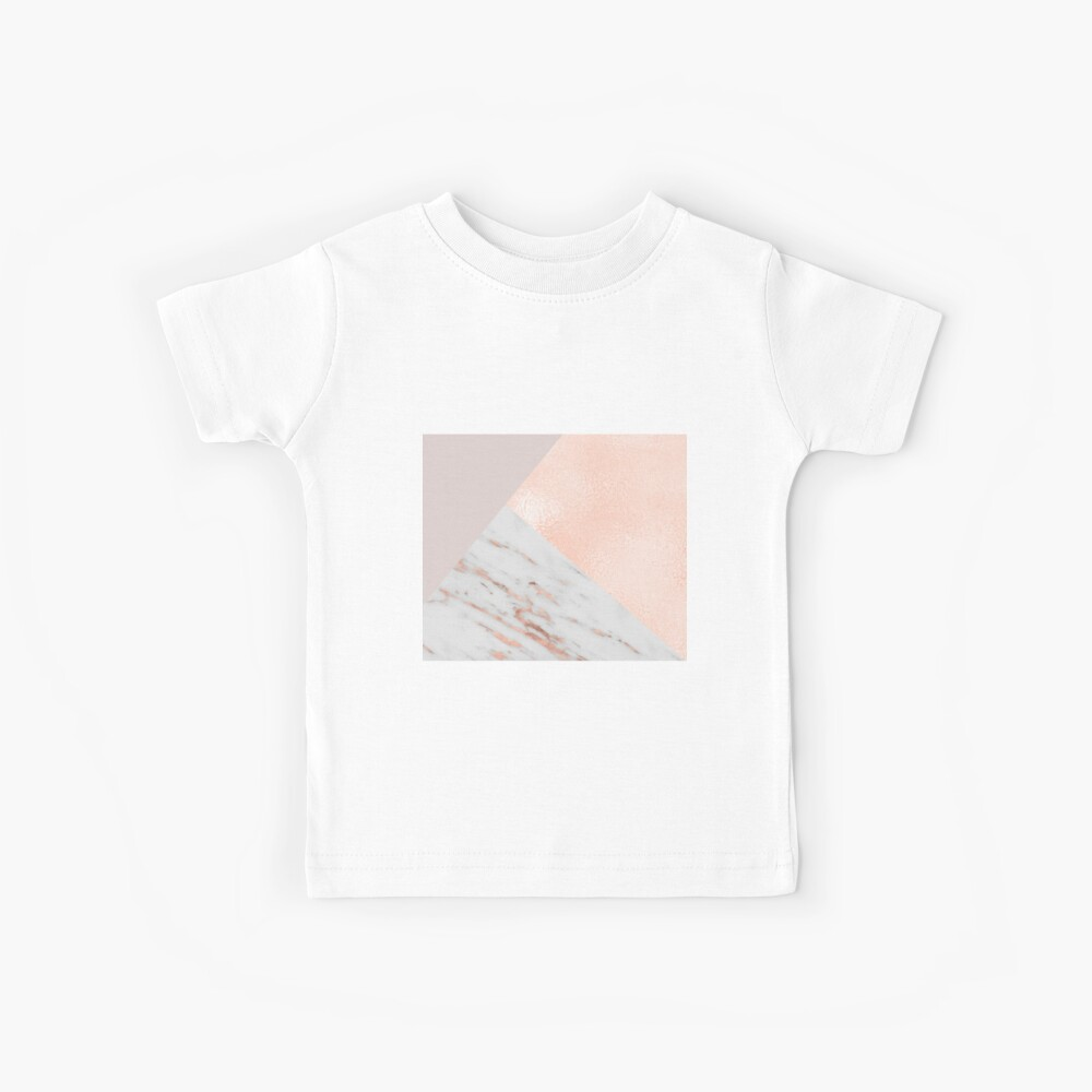 Blush pink layers of rose gold and marble Kids T-Shirt