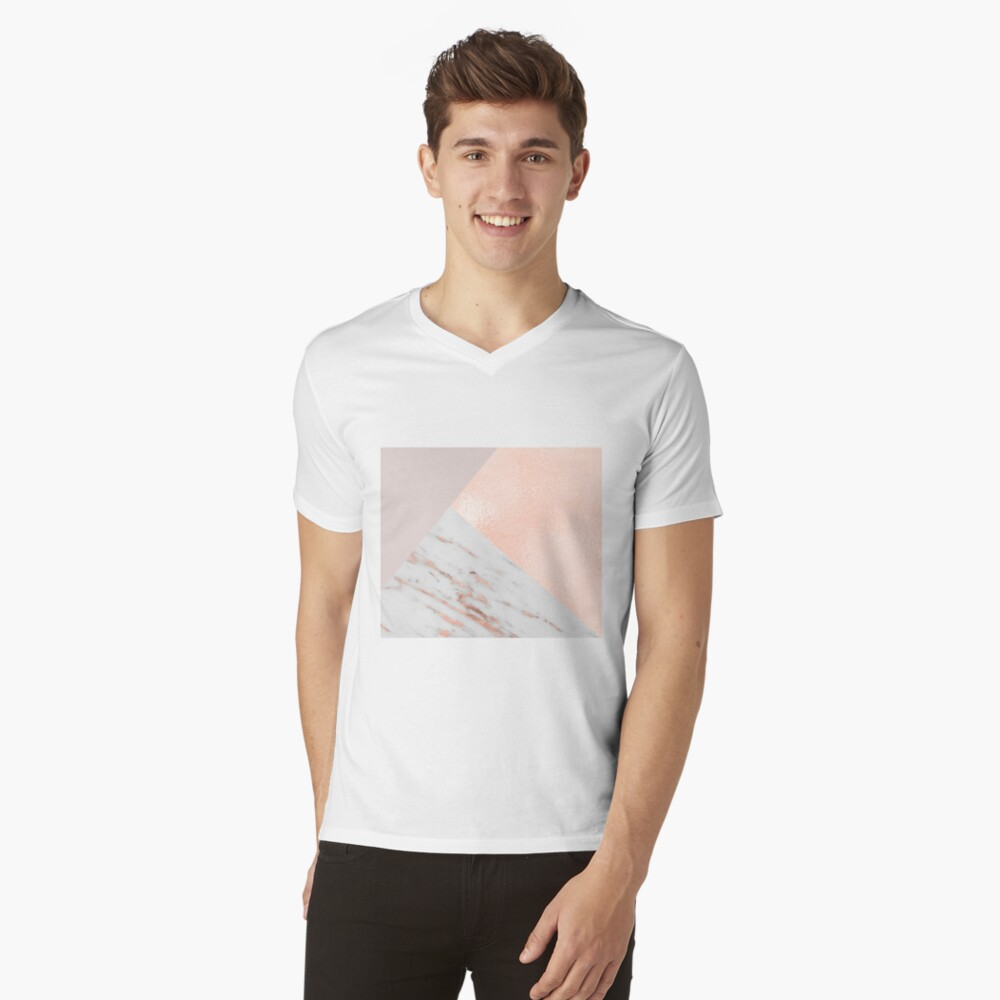 Blush pink layers of rose gold and marble V-Neck T-Shirt