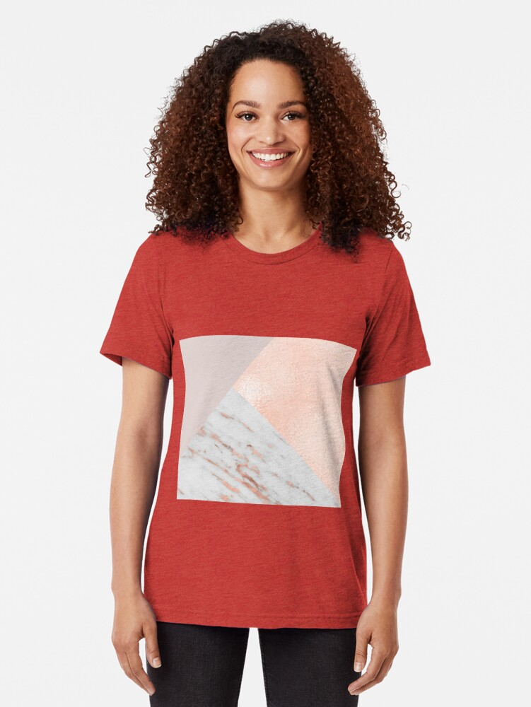 Alternate view of Blush pink layers of rose gold and marble Tri-blend T-Shirt