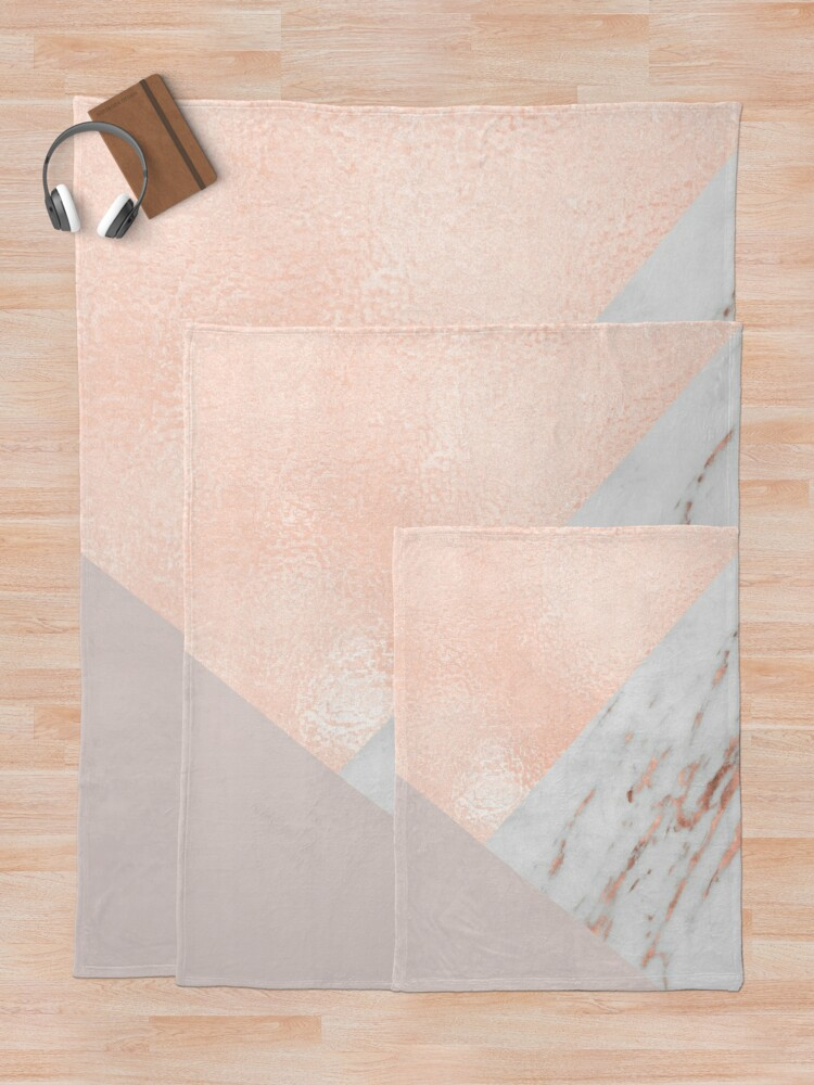 Alternate view of Blush pink layers of rose gold and marble Throw Blanket