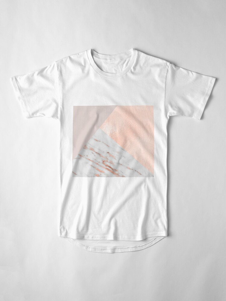 Alternate view of Blush pink layers of rose gold and marble Long T-Shirt