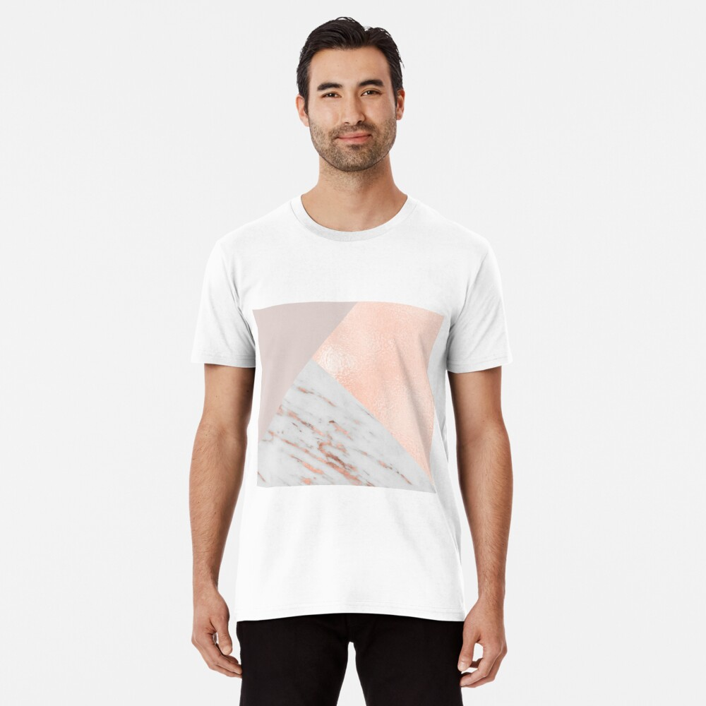 Blush pink layers of rose gold and marble Premium T-Shirt