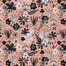 «floral blanco y negro en rosa cálido» de Stacey Oldham