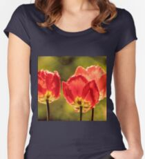 Glowing Red Tulips Women's Fitted Scoop T-Shirt