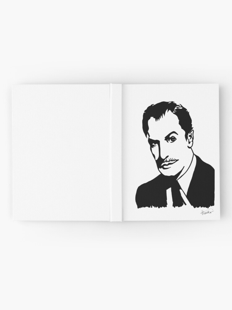 Alternate view of Vincent Price, master of horror, portrait signed by the artist Hardcover Journal