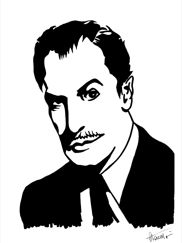 Vincent Price, master of horror, portrait signed by the artist by papercatlab