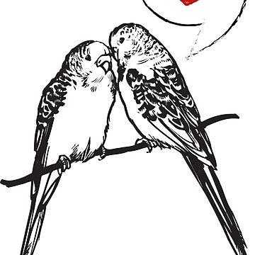 Budgie Bird Gift Heart Love Parrot by Rueb