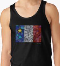 Acadian flag pastel mosaic - Drapeau acadien mosaïque pastel vitrail Tank Top