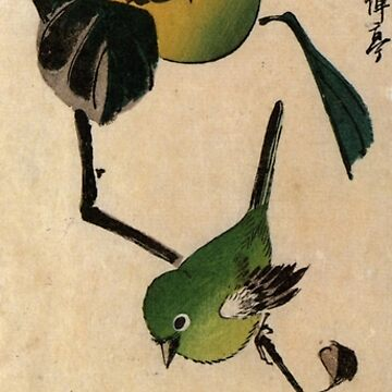 Bird On A Persimmon Tree by Utagawa Hiroshige (Reproduction) by RozAbellera