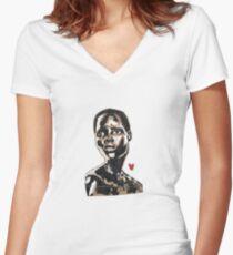 Afrikanische Frauenmalerei Shirt mit V-Ausschnitt