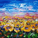 Sonnenblumenfelder mit Spachtel von OLena Art - Marke für #redbubble von OLena  Art ❣️