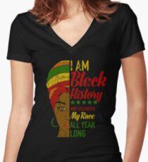 Ich bin schwarzer Geschichtsmonat Afrikanerin Shirt mit V-Ausschnitt