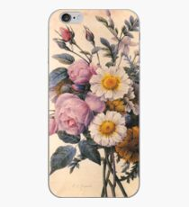 vintage botanical art, beautiful yellow daisy and pink rose flowers. iPhone Case