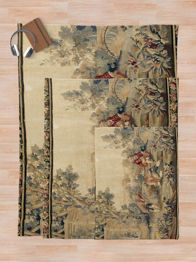 Alternate view of Aubusson  Antique French Tapestry Print Throw Blanket