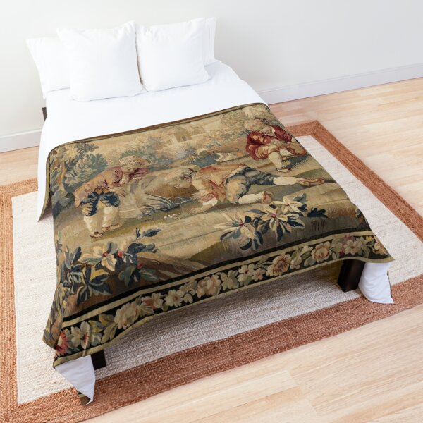 Aubusson  Antique French Tapestry Print Comforter