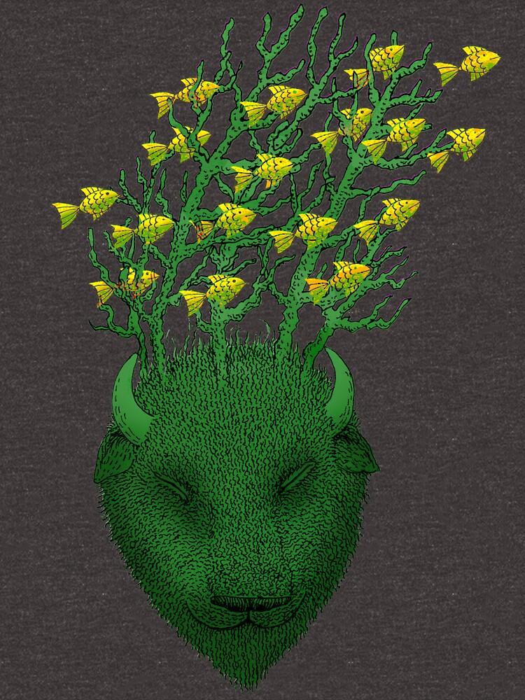 Sea Buffalo Dreaming Green Heart  by SusanSanford