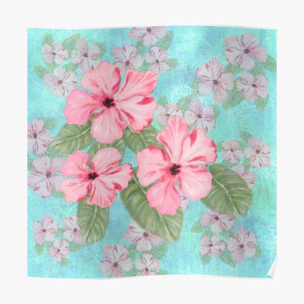 Tropical Hibiscus Floral Print Pink and Aqua Poster