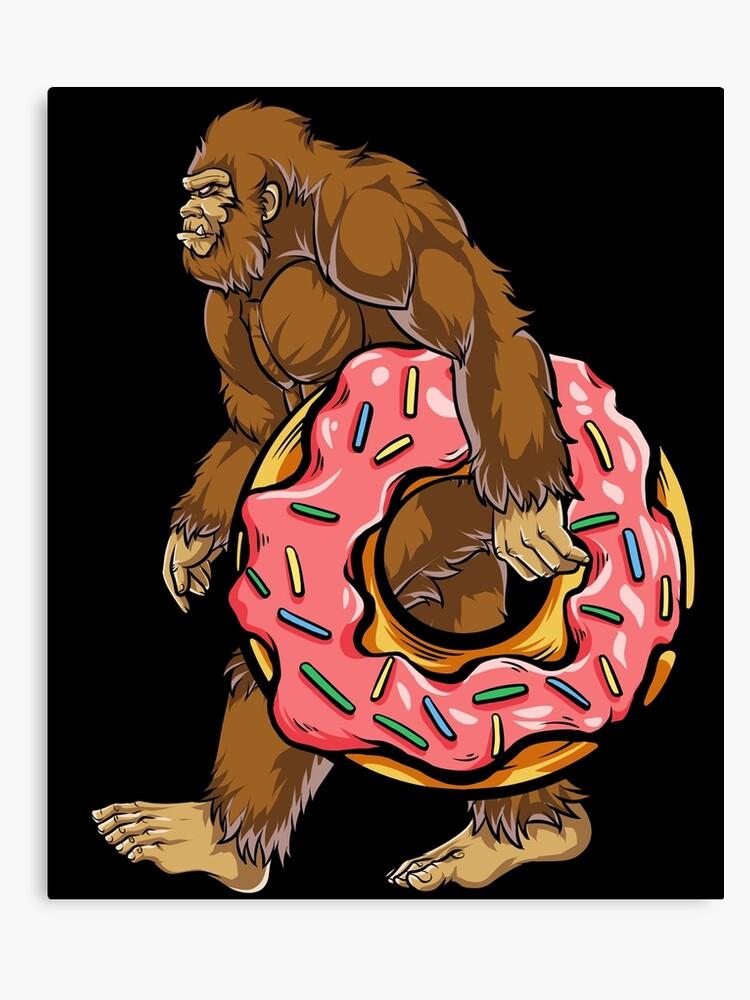 2a3f0c68 Bigfoot Donut T shirt Sasquatch Women Kids Donuts Sprinkle Canvas Print