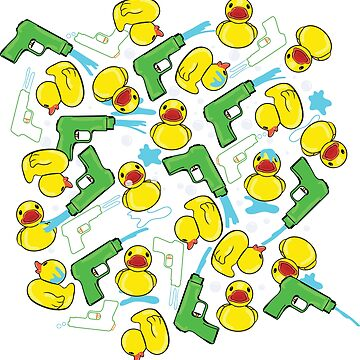 Rubber Duckies and Waterguns (black background) by underwatercity