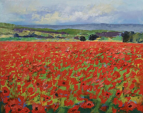Red Oriental Poppies by Michael Creese