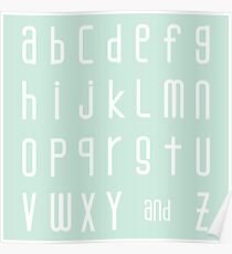 Alphabet in Palest Cyan and White Poster