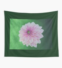 Creme Pink Dahlia On Green Wall Tapestry