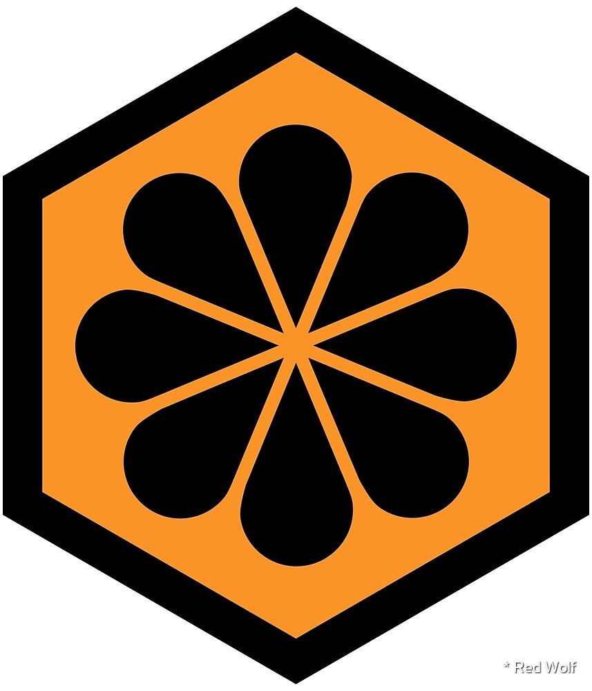 Geometric Pattern: Hexagon Flower: Orange/Black by * Red Wolf