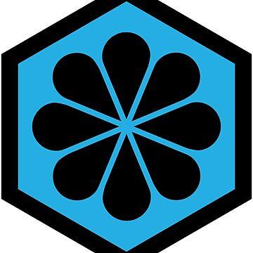 Geometric Pattern: Hexagon Flower: Blue/Black by redwolfoz