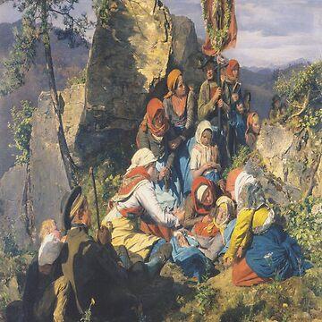 The sick pilgrim(Die kranke Pilgerin)-Ferdinand Georg Waldmüller by LexBauer