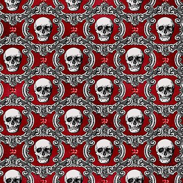 Gothic Skulls and antique picture frames on red background by headpossum