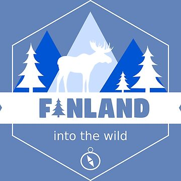 Finland Country Badge with Moose and Trees by studiopico