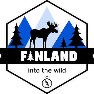 Finland Country Badge with Moose Mountains and Forest by studiopico