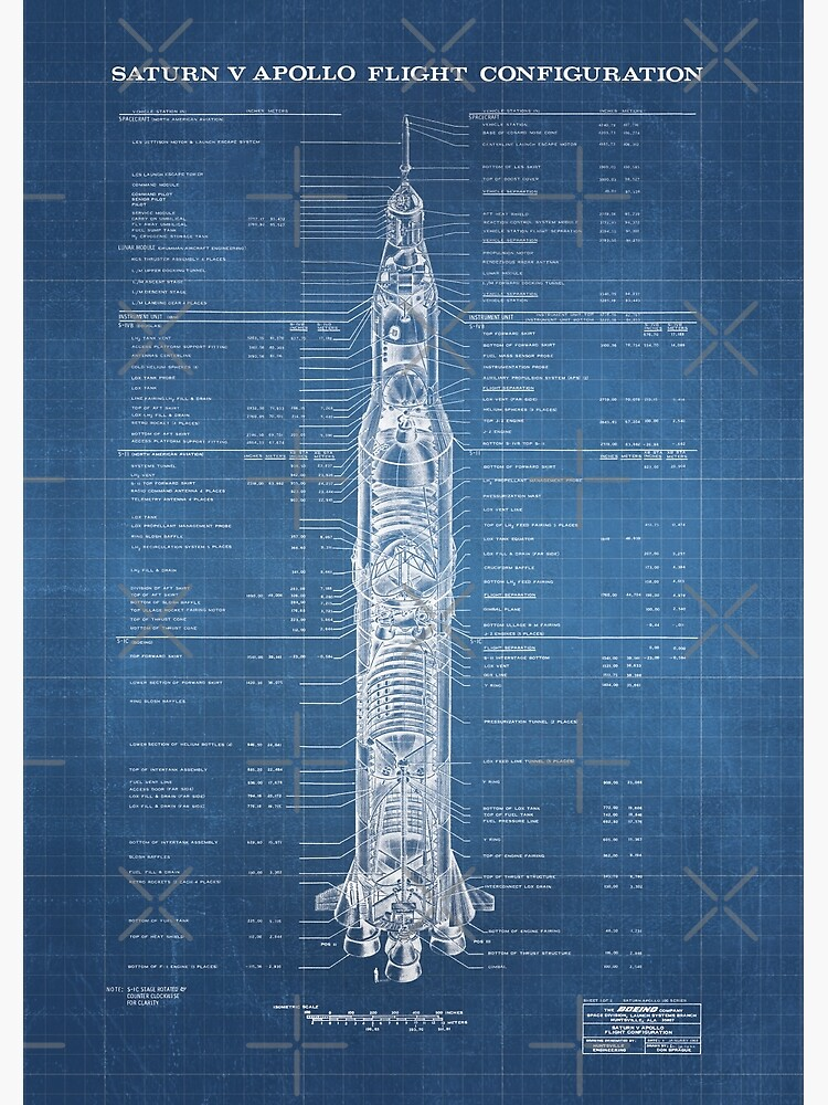 Apollo Saturn V Blueprint in High Resolution (light blue) by RHorowitz