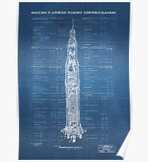 Apollo Saturn V (HighRes) light blueprint Poster
