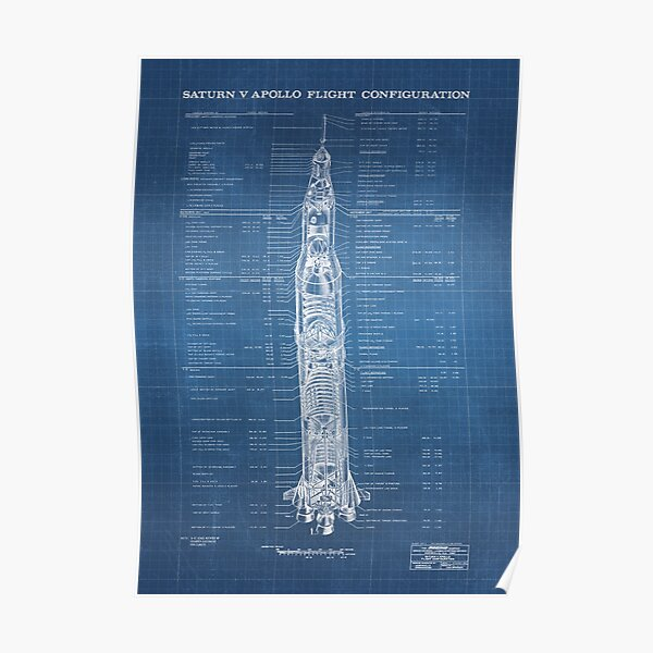 Apollo Saturn V Blueprint in High Resolution (light blue) Poster